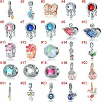 European Silver Charms Hearts Love Beads Gifts CZ Pendant Fit 925 Bracelets