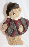Artisan Flair Jointed Plush Lady Bear Plaid Cape faux Fur Hat Handcrafted 12""