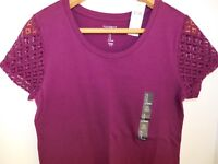 NWT GAP Women's Favorite Crew Neck T-Shirt Lace Sleeves Berry XS MSRP$25 New