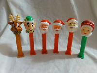 Pez Lot 6 Christmas Reindeer, Elf Issue A Santa Claus Issue C, D, & E, Mrs Claus