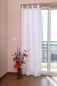 """White Faux Silk Curtains, 51""""(130cm) Wide - Choice of Plain Top, Length & Lining"""