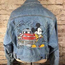 Disney Mickey Mouse LA Street Map 80's Cropped Denim Jean Jacket Size Medium