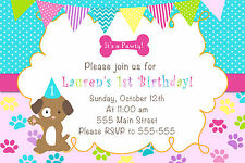 30 Puppy Invitation Cards Pink Turquoise Girl Birthday Party Personalized A1