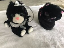 Lot Of 2 Plush Stuffed Animal Purses - 12� Poochie & Co. Glitter - 8� Remove Cat