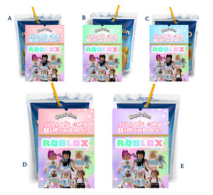 8 PINK and PURPLE GIRL'S ROBLOX CAPRI SUN LABELS BIRTHDAY PARTY FAVORS STICKERS