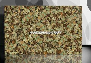 Marble Chrisopraz With Gold Table Top Home Indian Semi Precious Inlay Decor E251