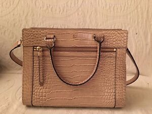 Kate spade pink leather reptile embossed satchel handbag excellent