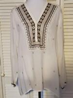 J Jill Ivory Embroidered Boho  Hi Low Tunic Top Blouse Shirt Women's Size XL