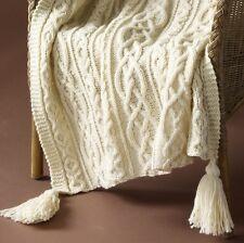"Kisses & Hugs Aran Throw  48 x 60""  Knitting Pattern Copy"