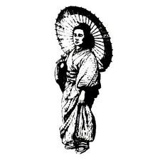 Japanese Geisha with Parasol unmounted rubber stamp, oriental lady #12