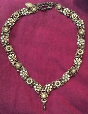 Michal Negrin Swarovski Crystal Pale Pink Brown Necklace