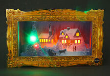 Illuminated Golden Frame Holiday Gathering Lights and Melody Christmas Card