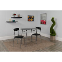 3 Piece Space-Saver Bistro Set with Black Glass Top Table and Black Vinyl Chairs