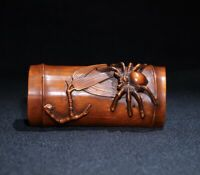 Noble natural boxwood wood carved Spider climb on bamboo statue netsuke decor