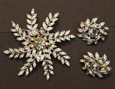 Sarah Coventry Brooch Earrings  Evening Snowflake Vintage 1963 Rhinestones