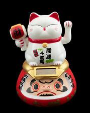 Chat Japonais sur Daruma solaire 10.5 cm blanc Maneki Neko patte animée 40704