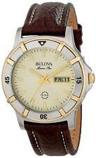 Bulova Men's Marine Star Brown Leather Band Stainless Steel Quartz Watch 98C71