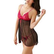 Sexy Erotic BLACK & Red Lace Bodysuit Teddy Babydoll Lingerie Sleepwear One Size