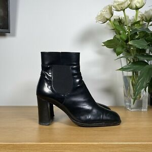 Womens RUSSELL & BROMLEY Block Heel Leather Work Ankle Boots - Black -UK5.5/38.5