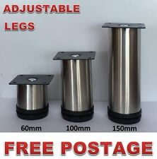 4x Adjustable Furniture Legs Stainless Steel 60-200mm Kitchen Cabinet Couch Sofa