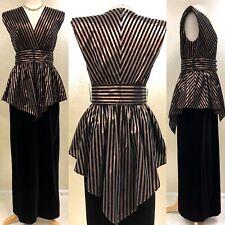 "Vintage 1980's VERA MONT Black & Copper Evening Dress Gown Velvet Striped 30"" W"