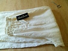 Quirky Lagenlook Sarah Santos White BNWT 100% Linen Trousers XS