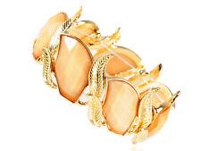 Retro Orange Enamelled Pattern Intertwined Leaf Bangle Bracelet Chic Xmas Gift