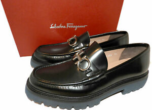 Salvatore Ferragamo Bleecker Reversible Bit Lugged Loafers Shoes 9.5 3E