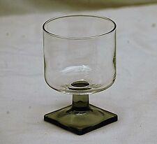 Modern Style Claret Wine Glass Clear w Smoke Base Square Footed Unknown Maker