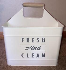 Metal Caddy Bathroom Organizer w/ Divider Handle Storage Holder White Large Big