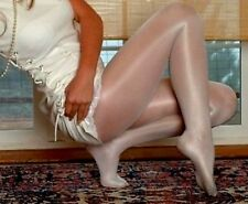 Q White Shiny Tights pantyhose Peavey Hooters uniform holiday lingerie