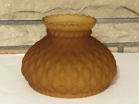 """Vintage GWTW 7"""" Fitter Amber Quilted Satin Glass Hurricane Oil Lamp Shade"""