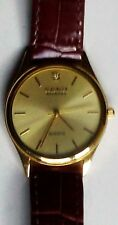 Berenger Genuine Diamond Men's Quartz Watch with Brown Leather Band