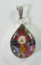 925 sterling silver small teardrop  pendant with real flowers