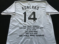 Paul Konerko Signed Autograph Gray Stat Jersey JSA COA White Sox Great