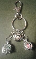 Key Chain with 3 Pearl in Cage Charms with Lobster Clasp-Paw prints & bone