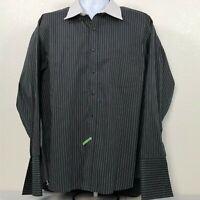 Donald Trump Collection Black Pin Stripe 18-1/2 34/35 Dress Shirt French Cuff