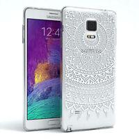 Samsung Galaxy Note 4 Hülle Schutzhülle Handyhülle Backcover Henna Mandala Weiß