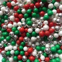 CHRISTMAS SPARKLE CAKE SPRINKLES SUGAR PEARLS CUPCAKE  DECORATIONS 100'S &1000's