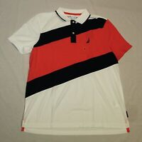 Nautica Men's Classic Fit Colorblock Polo Shirt MP7 Bright White Summer Large