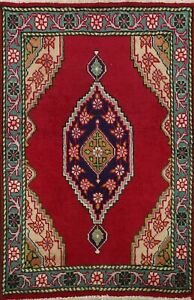 Vintage Geometric Tebriz RED Area Rug Hand-knotted Oriental Wool Carpet 2'x3'