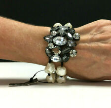 CHICO'S Bracelet Wide Grey Rhinestone & Baroque PEARL Gunmetal Stretch RR185i