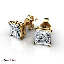 3Ct Princess Cut Sim Diamond Yellow Sterling Silver Solitaire Stud Push Back Rp