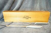 Vintage GERBER Legendary Blades 2 pc presentation Carving Set with Walnut Case