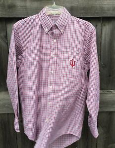 Indiana Hoosiers Button Front Shirt Men's Small Checks 55% Cotton 45% Poly GUC