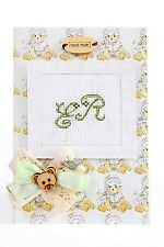 Birth Announcement Cross Stitch Card Kit By Luca-S Green Teddy Hand Made