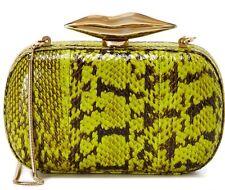 Diane Von Furstenberg Flirty Electric Lime Snakeskin Minaudiere Shoulder Bag New