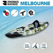 Fishing Kayak Sit-On 3M 5 Rod Holders Seat Paddle Melbourne Green Camo