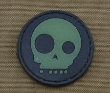 """PVC / Rubber Glow in the Dark Patch """"Halloween Skull"""" with VELCRO® brand hook"""