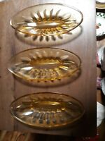 Vtg Set of 4 Banana Split Dishes Bowls Amber Yellow Sundae Ice Cream Glass Boat